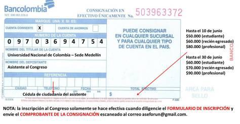 Información sobre cuenta para consignar